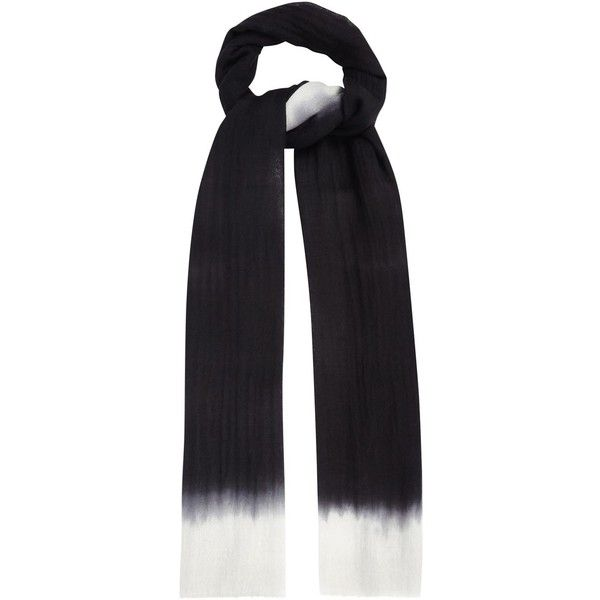 Womens Knitted Scarves Denis Colomb Mustang Peacock Black Ombré... (226.065 HUF) ❤ liked on Polyvore