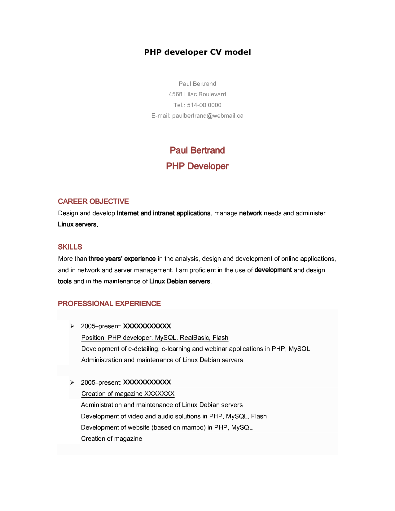 Programmer Resume Php Programmer Resume  Httpwwwresumecareerphp
