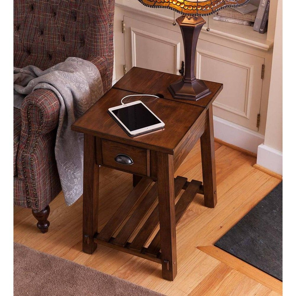 Canyon Charging Pine Wood Side Table Plow Hearth End Tables