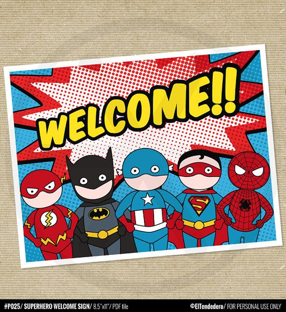 Superhero Welcome sign with superheoes inspired by by eltendedero