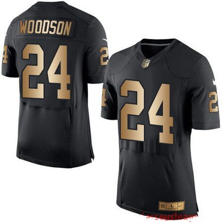 Men's Oakland Raiders #34 Bo Jackson Black With Gold Stitched NFL Nike Elite Jersey