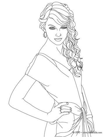 Taylor Swift Singer In Coloring Sheet More Taylor Swift Coloring Pages On Hellokids Com Star Coloring Pages Fashion Coloring Book Coloring Pages