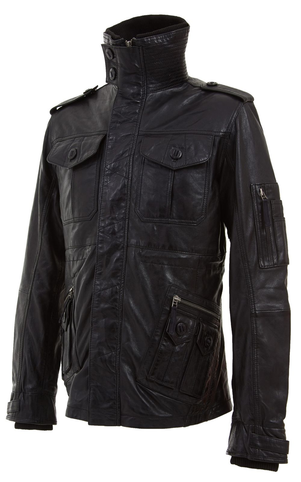 Mens Retro Black Leather Biker Jacket In Sizes S To 5xl The Leather Funnel Neck Can Be Opene Black Leather Biker Jacket Leather Jacket Men Mens Leather Coats [ 1600 x 1000 Pixel ]