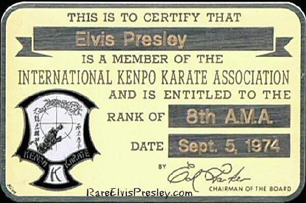 ELVIS\' CERTIFICATION as a member of the International Kenpo Karate ...