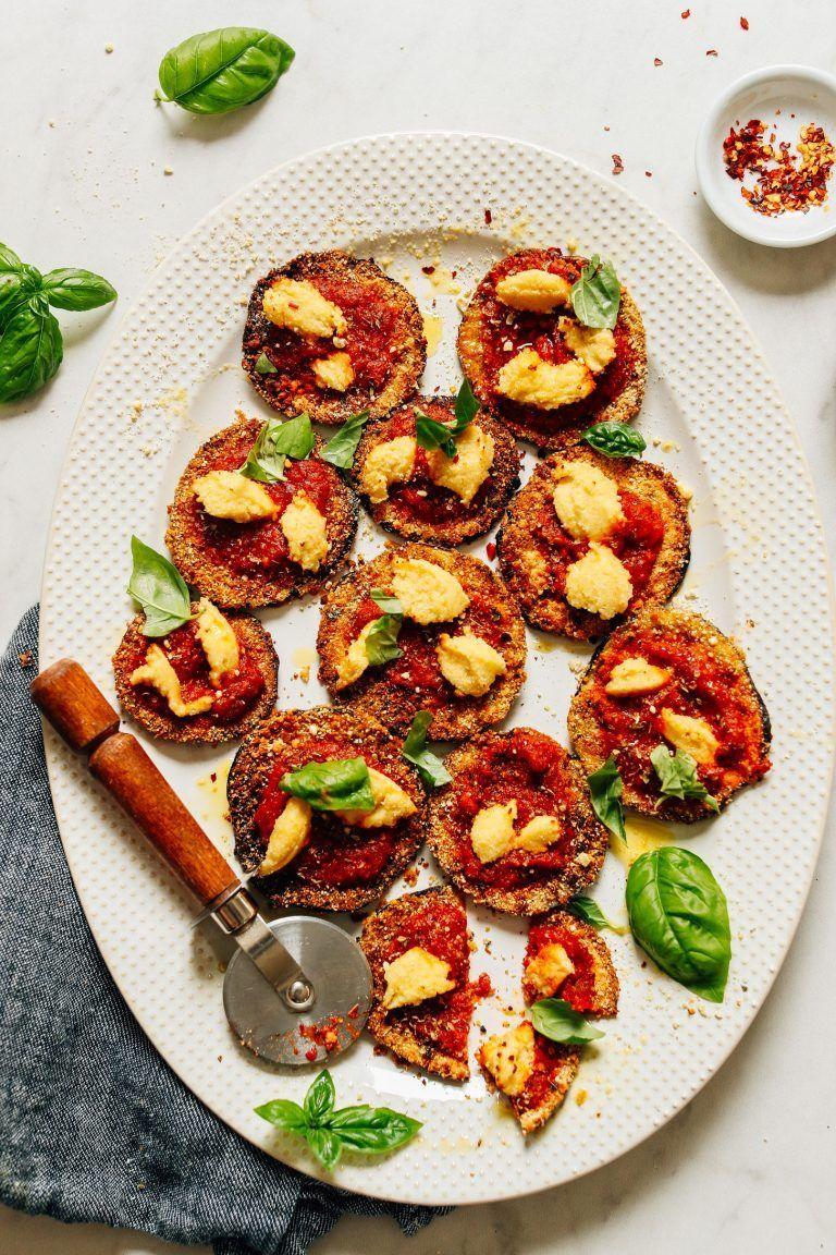 MINI CRISPY EGGPLANT PIZZAS - #eggplant #food #free #gluten #pizza