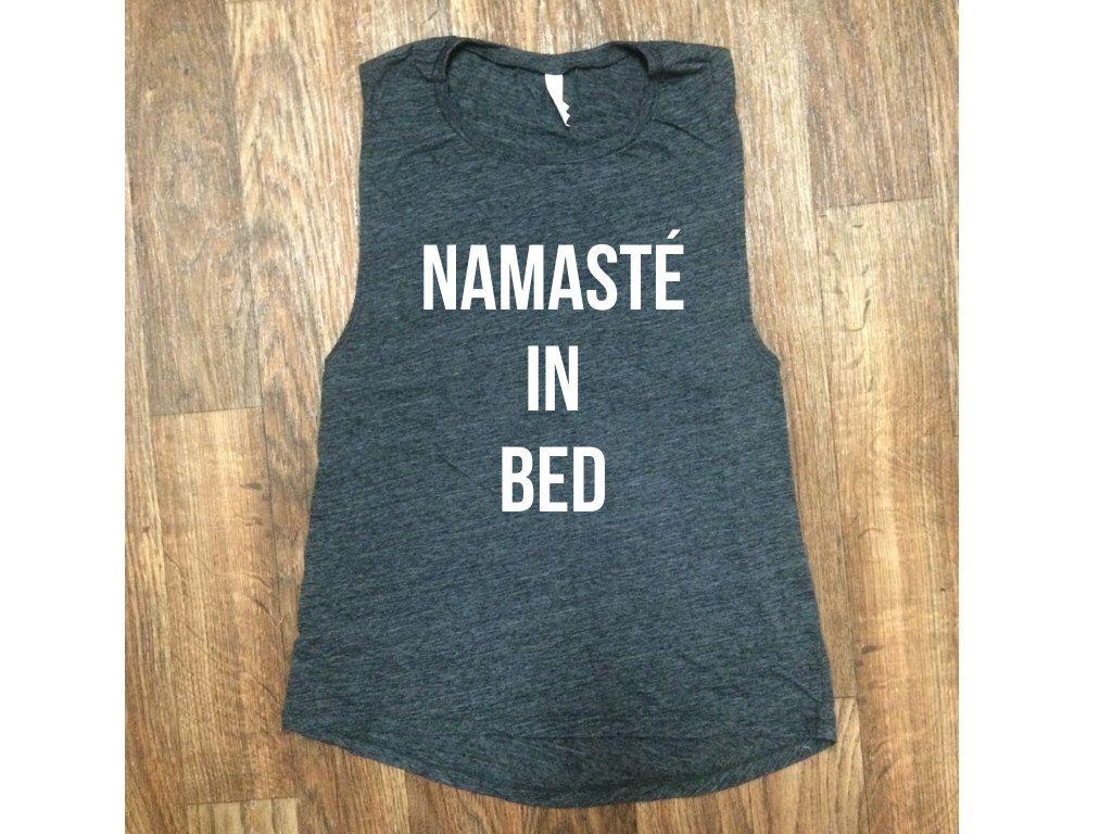 namaste in bed dark gray tank / dark gray workout tank / women's tank / women's workout tank / muscle tee / gym tank / yoga tank by NotBySightCo on Etsy https://www.etsy.com/listing/454943380/namaste-in-bed-dark-gray-tank-dark-gray