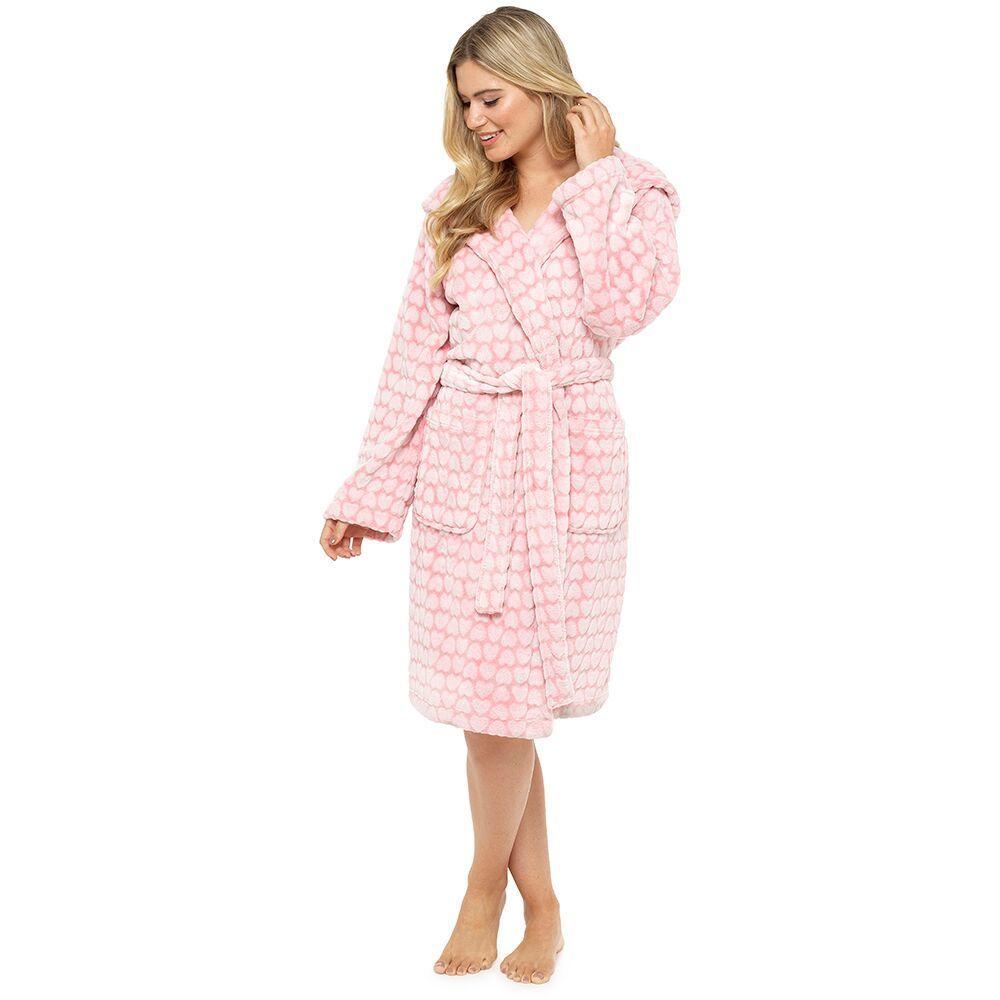 Womens//Ladies Soft Flannel Fleece Winter Dressing Gown//Robe Fur Hood Size 8-18
