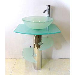 Kokols Bathroom Vanity Pedestal And Frosted Glass Vessel Sink Combo Set  (Bathroom Pedestal Frost Glass Vessel Sink Combo Set), Silver Stainless  Steel