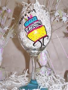 Hand Painted 21st Birthday Wine Glasses