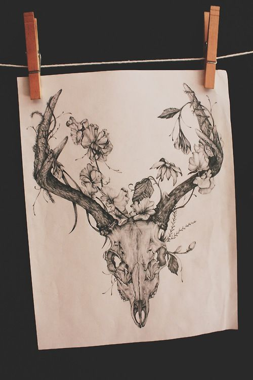 33766c598 #tattoo #deer #skull #organic #floral #flowers #branches #growth