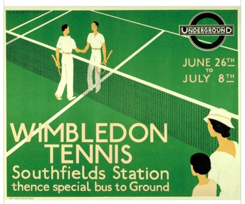 This Is A Underground Poster Advertising The Tennis The Imagery As The Background And Then Fitting Type Around The Net In The Mid Wimbledon Tennis Tennis Posters London Underground