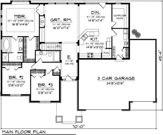 Craftsman Style House Plan - 3 Beds 2 Baths 2032 Sq/Ft Plan #70-1097