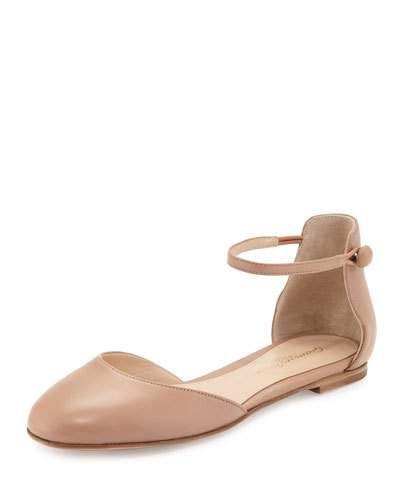 55fc02433ee Women s Shoes · Ladies Shoes · S1CMA Gianvito Rossi Leather d Orsay Ankle- Strap Flat