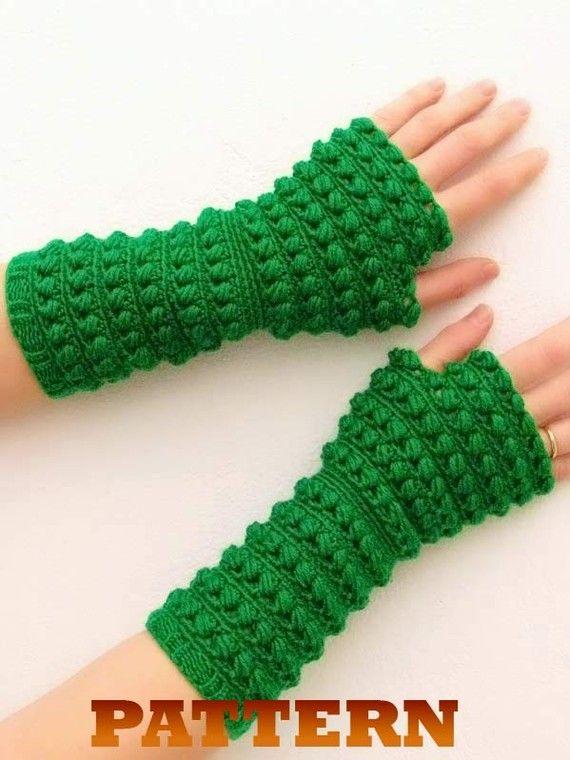 PDF crochet pattern fingerless gloves, mittens, arm warmers. Knit ...