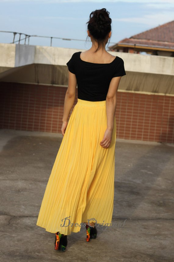 71b107a29 yellow skirt, Pleated skirt , Maxi Skirt, full Skirt , custom made skirt 16  colors available