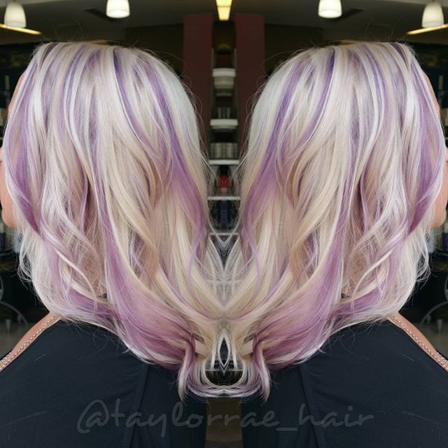 Blonde With Purple Highlights By Taylor Rae Hotonbeauty