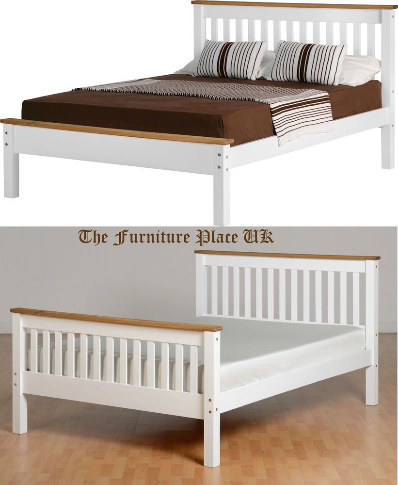 4ft 6 Bed Monaco 4ft 6 Double Low Or High End Bed Frame In White