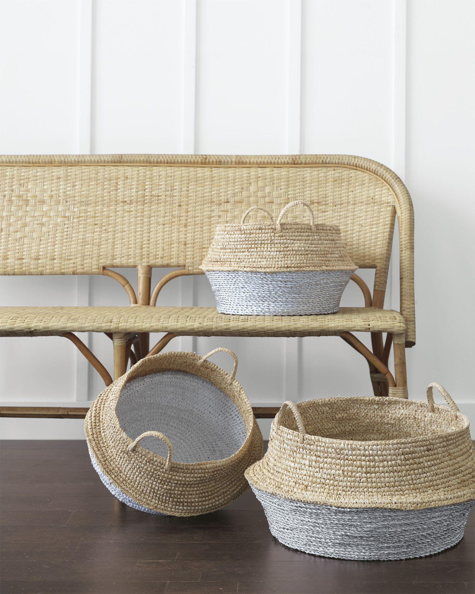 Riviera Bench in Natural and Round Belly Baskets via