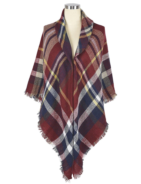 f5828f64660c4 Women's Fashion Long Shawl Tassels Soft Plaid Winter Blanket Scarf - Blue 5  - CU187QEXD7U - Scarves & Wraps, Wraps & Pashminas #Scarves #Wraps ...