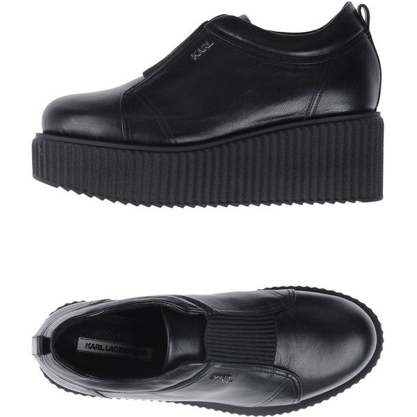 Karl Lagerfeld Low-tops & Trainers (980 ILS) ❤ liked on Polyvore featuring shoes, sneakers, black, black leather shoes, wedge shoes, leather sneakers, wedge sneakers and wedge heel sneakers