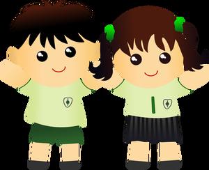 Nino Y Nina En Dibujo Vectorial Uniforme Escolar Vectores De Dominio Publico Ninas En Uniforme Escolar Dibujos Para Ninos Ninos