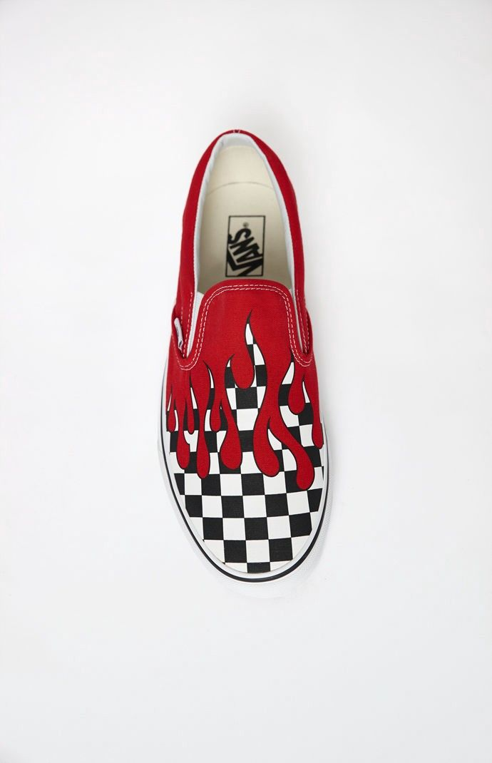 9c5712e23aef Vans Checker Flame Classic Slip-On Shoes - 11.5