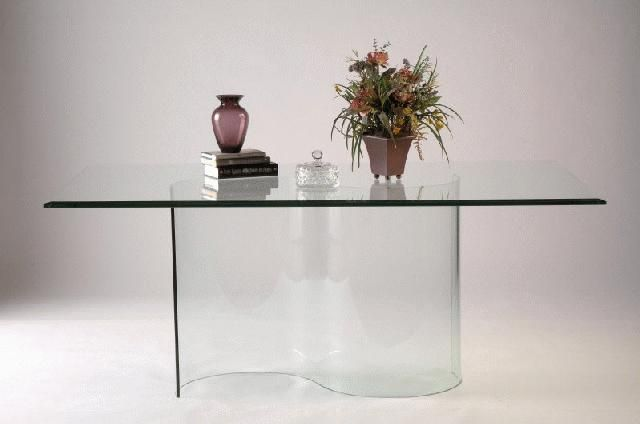 Double Curved All Glass Dining Table Base Dining Table Bases