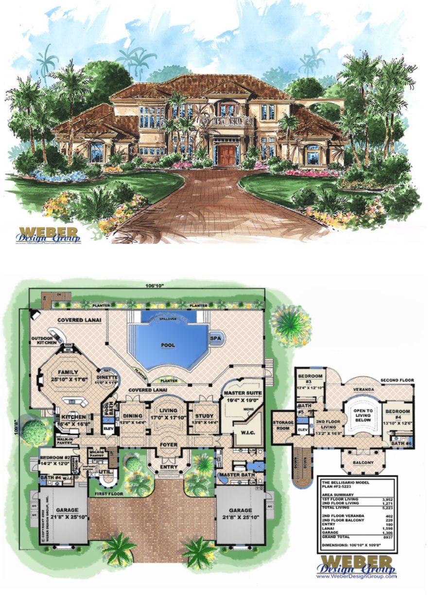 Mediterranean House Plan Coastal Mediterranean Tuscan Floor Plan Mansion Floor Plan House Plans Mediterranean House Plans