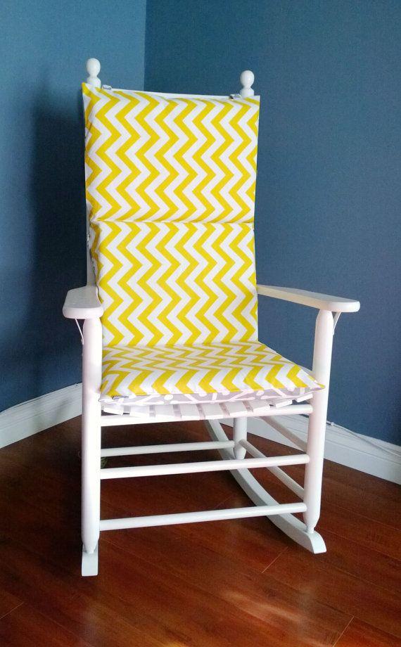 Rocking Chair Cushion For Baby Nursery Yellow Chevron