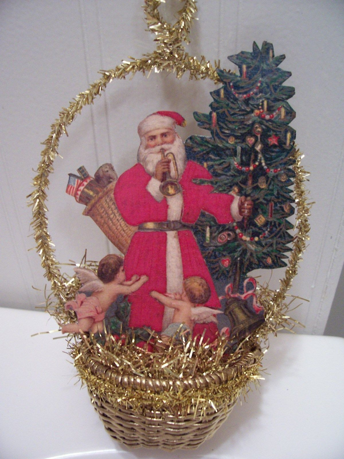 antiquevtglook christmas ornament santa wtreeangels scrap