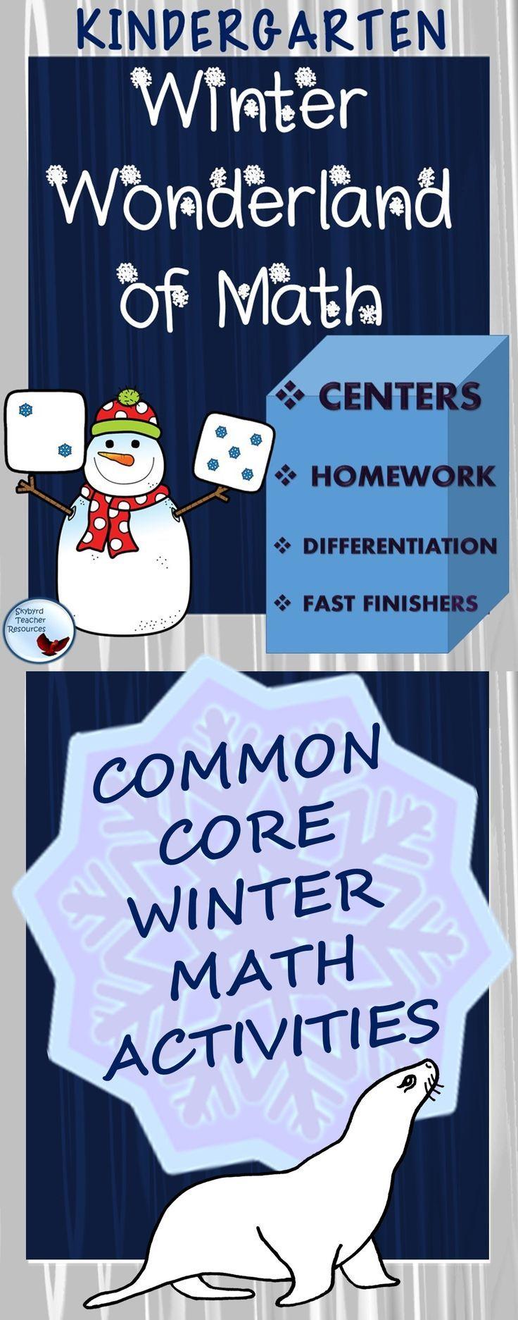 Math: Kindergarten Winter Wonderland Math Activities and Worksheets ...