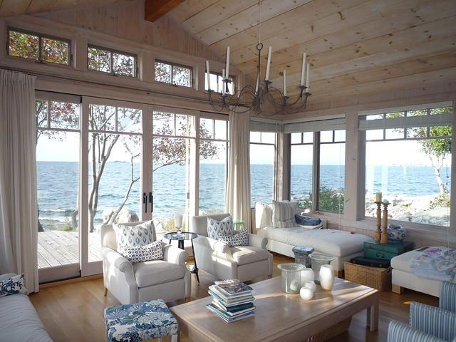 outstanding bay window living room ideas | Love the windows in this beach cottage. Great view ...
