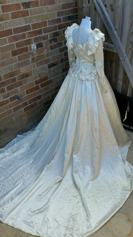 Vintage 1940s Bur-Mil rayon bridal satin wedding dress ivory long ...