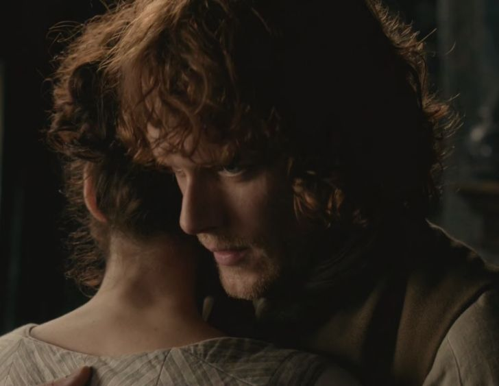 "Claire (Caitriona Balfe) and Jamie (Sam Heughan) in ""The Watch"" of Outlander on Starz via http://outlander-online.com/2015/05/03/1370-uhq-1080p-screencaps-of-episode-1x13-of-outlander-the-watch/"