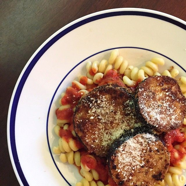 Vegan eggplant Parmesan for lunch!  Recipe from @minimalistbaker #yum