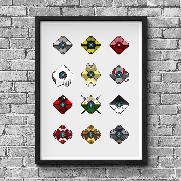 Destiny Ghost Shell Collection Poster | Gaming Posters & Stickers