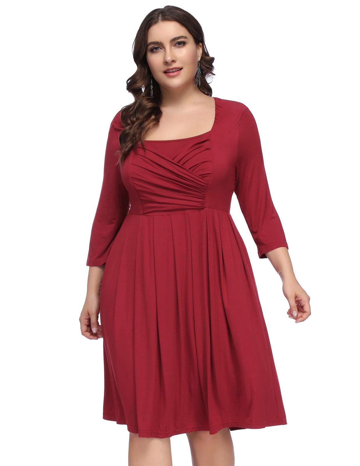 22cbd0b76d9b Comfy Pleated Bodice ALine High Waist Plus Size Dress for Women 18WWine --  Details can