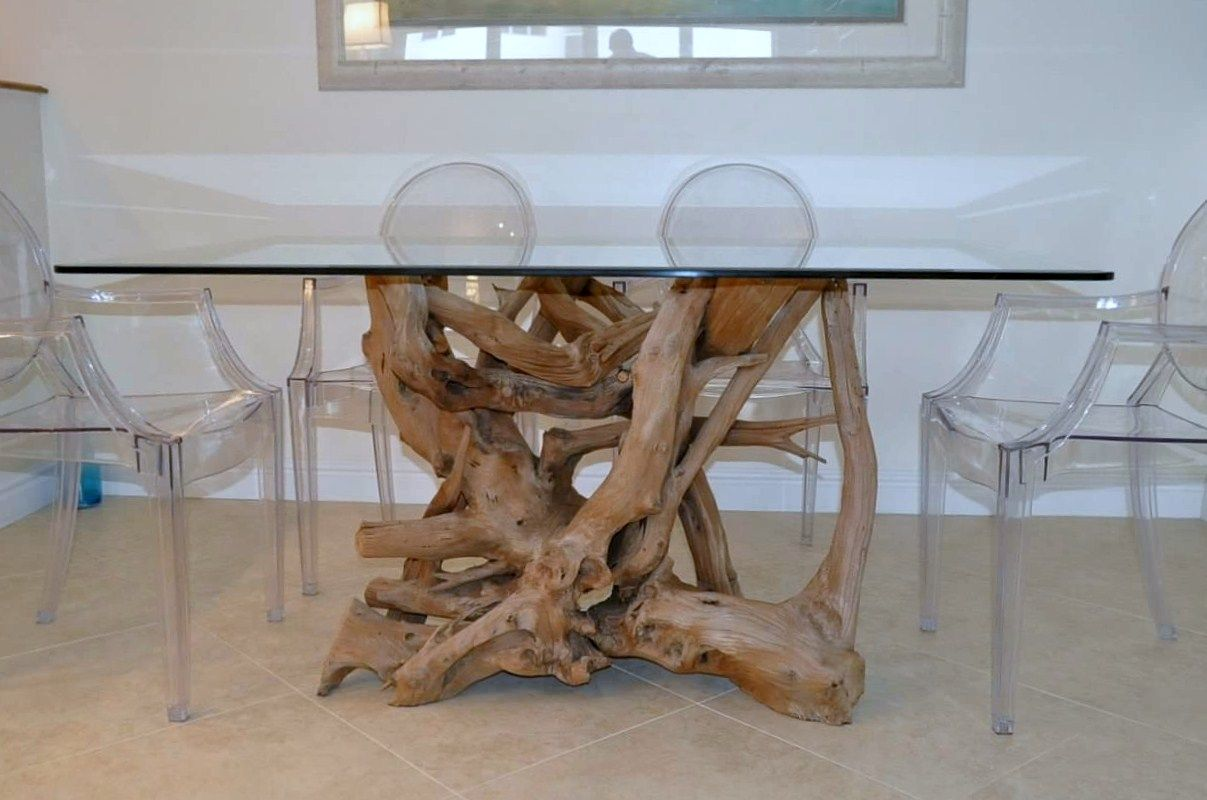 Glass Top Driftwood Dining Table Driftwood Decor Driftwood Dining Table Glass Dining Table Rectangular Dining Table