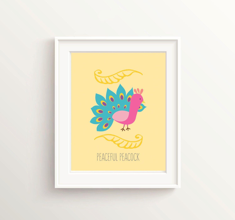 Peacock Nursery, Peacock Wall Art, Yellow Nursery, Bird Print ...