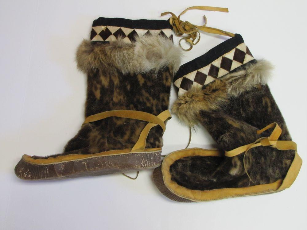 Handmade Alaska Eskimo Mukluks Moccasins Fur Lined Boots