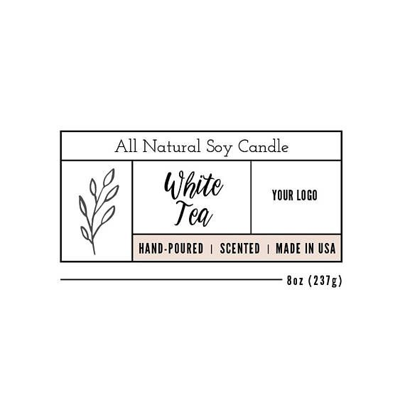 Candle Label Template Custom Design Product Packaging Photoshop INSTANT DOWNLOAD