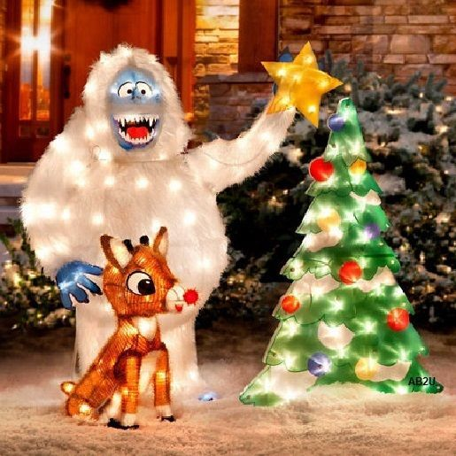 new 3pc prelit outdoor rudolph animated bumble christmas tree yard display decor