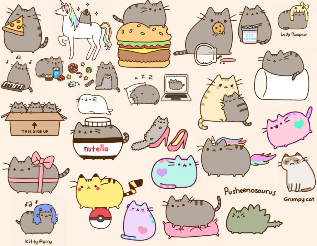 Here's a cool wallpaper Pusheen cat, Cute little