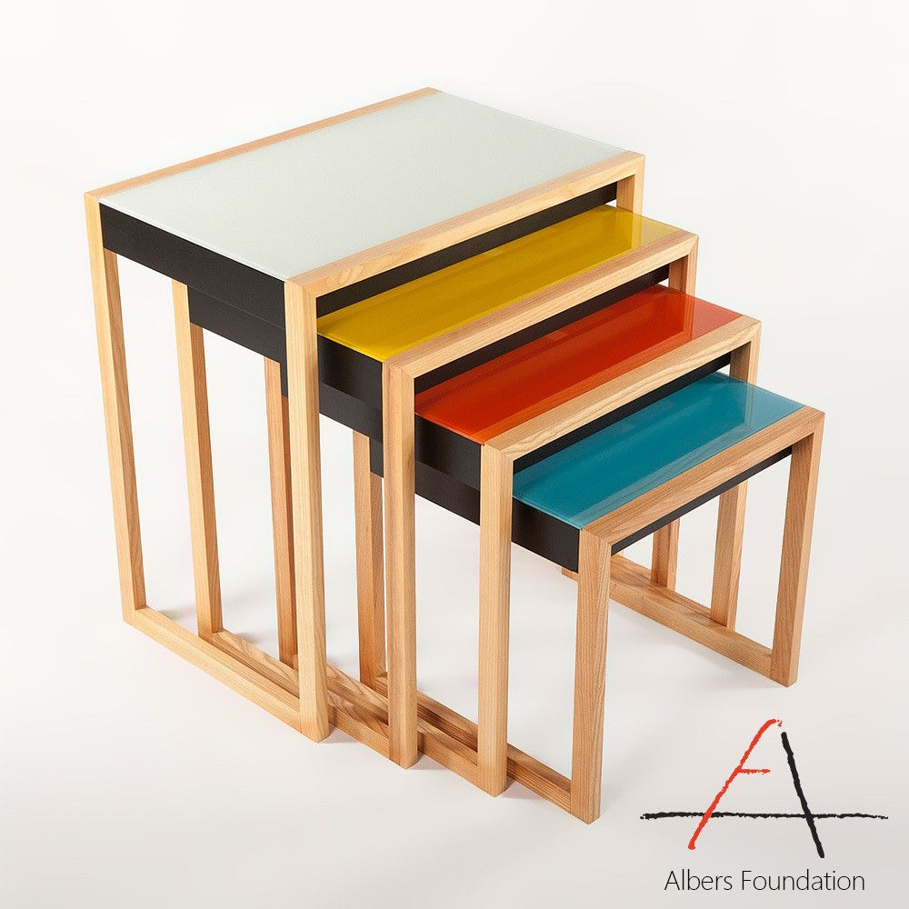 Albers Multicolor Nesting Tables Sidetables With Images Nesting Tables Modern Side Table Table Furniture