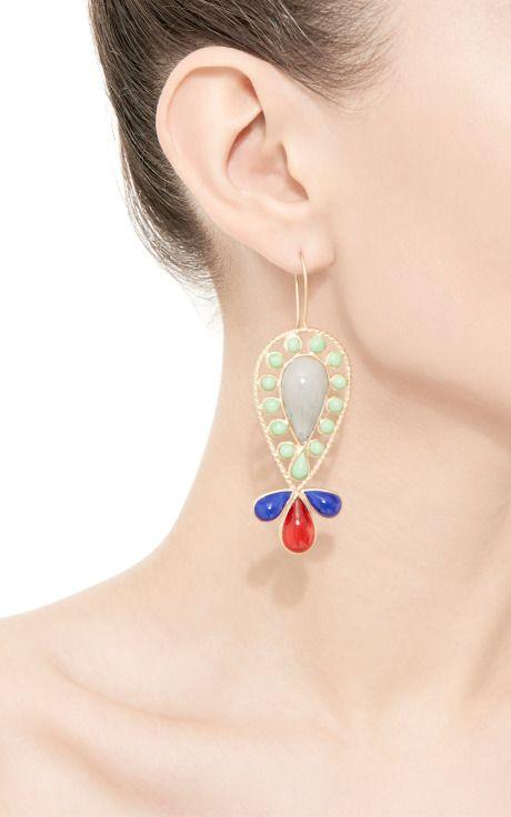 Almond Shaped Glass Drop Earrings by Gripoix for Preorder on Moda Operandi