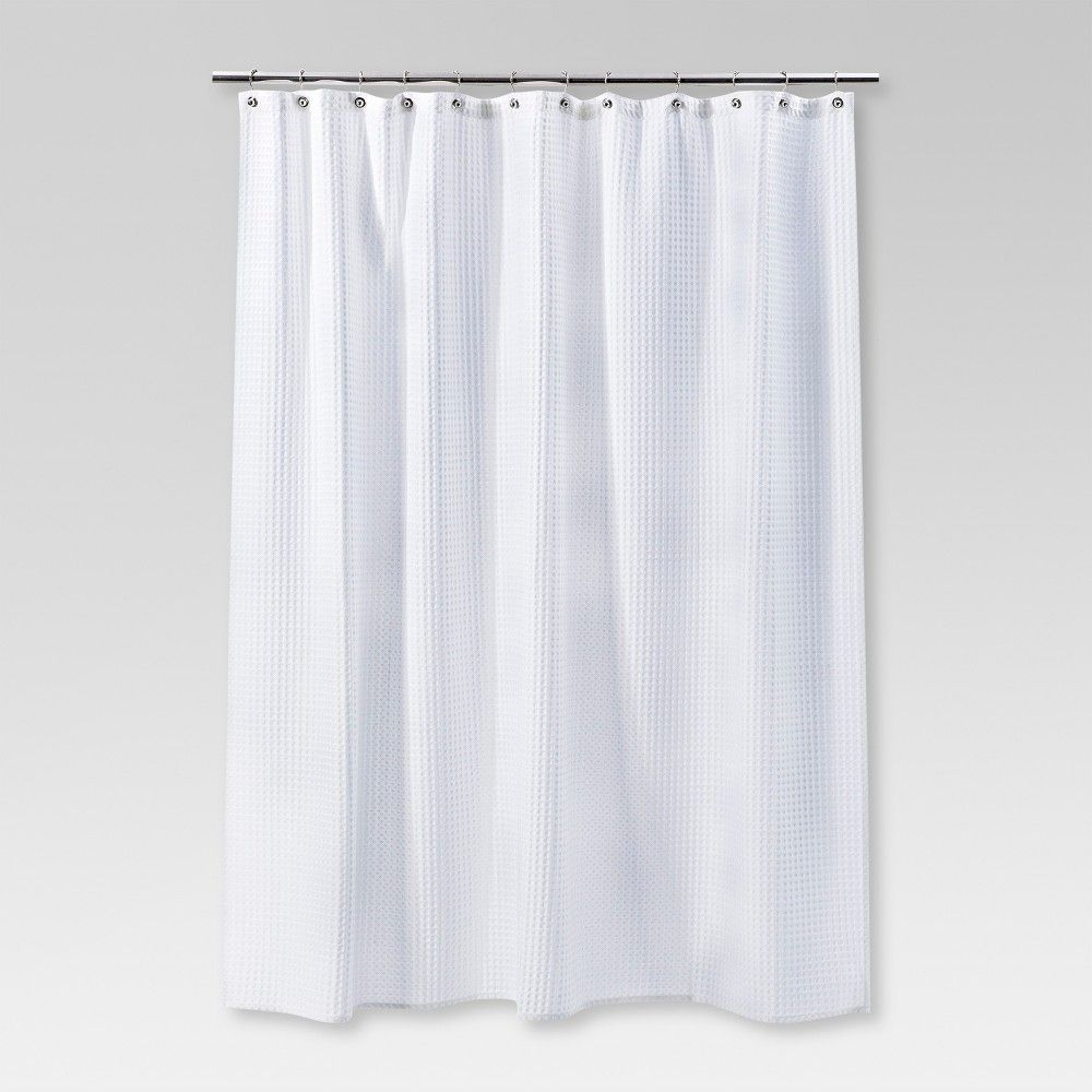 Waffle Weave Shower Curtain White Threshold Curtains Striped Shower Curtains Shower Curtain Rings