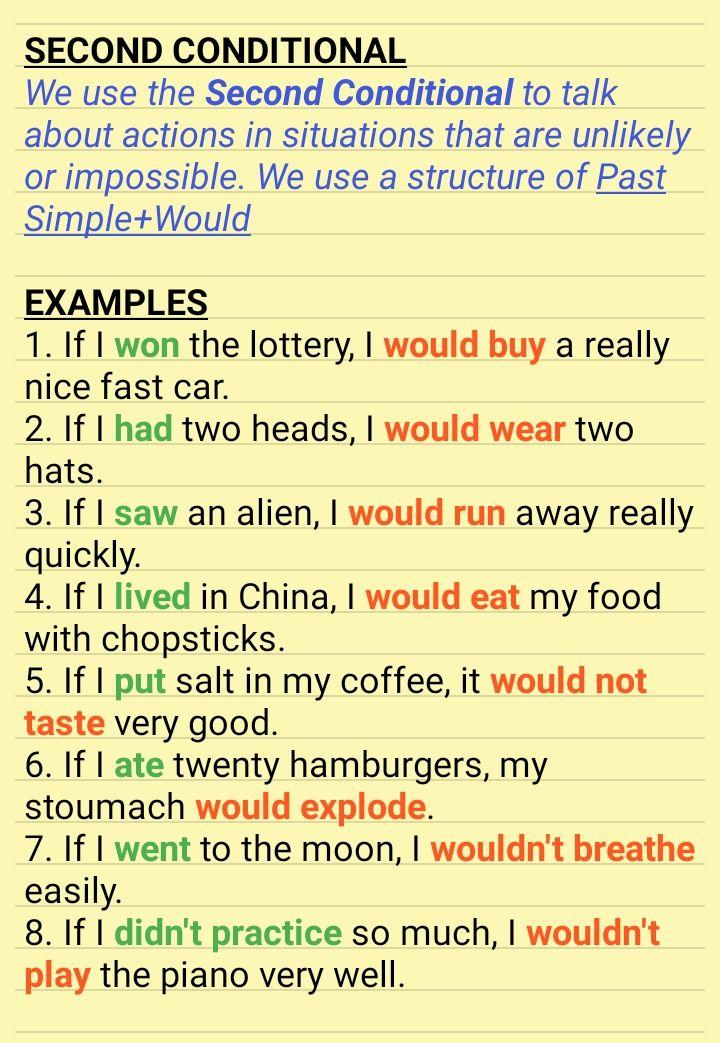Second Conditional Mit Bildern Englisch Lernen Englisch