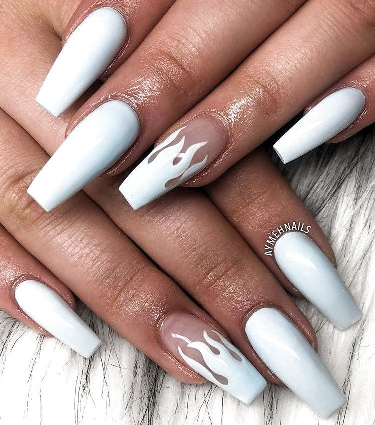 White Flame Nails In 2020 Acrylic Nails Coffin Short Short Acrylic Nails Simple Acrylic Nails