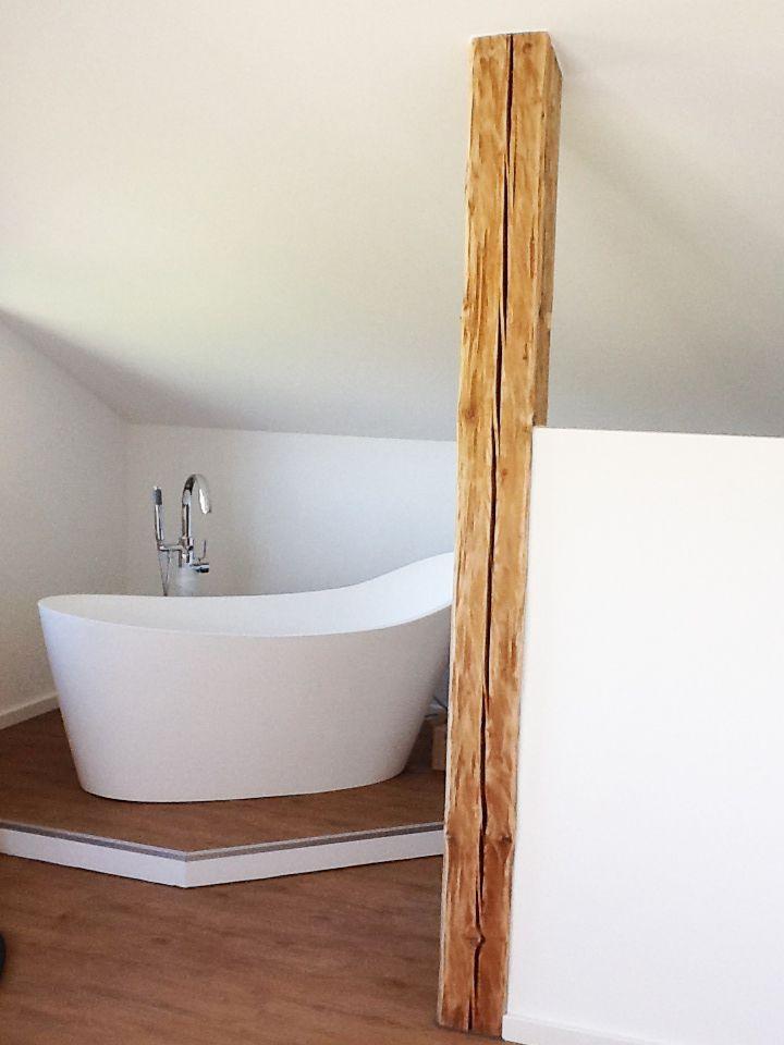 Badewanne Schlafzimmer Holzbalken Trockenbau Sleeping Room