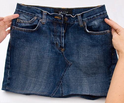 9f0fd9a10 Como transformar un pantalón en falda | Jeans | Reciclar pantalones ...